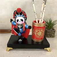 中国风京剧笔筒熊猫摆件出国礼物传统工艺外事商务礼品送老外
