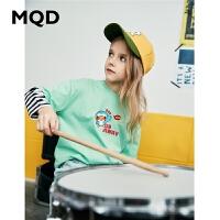 MQD童装女童T恤2020春季新款宽松字母假两件儿童T恤条纹圆领长袖