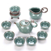 琨德 开片瓷器哥窑陶瓷整套功夫茶具套装礼盒装家用茶壶茶杯*