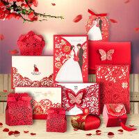 结婚喜帖婚礼请帖请柬邀请红色2018 创意喜糖盒看样体验