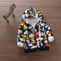 男女童宝宝0-5岁秋冬装加绒卡通卫衣帽衫迷彩夹克保暖外套拉链衫