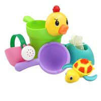 儿童软胶洗澡玩具戏水车男孩女孩小黄鸭婴幼儿宝宝洒水壶套装沙滩户外戏水玩具 +乌龟 乌龟颜色可备注