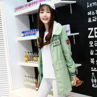 少女秋冬装新款韩版学院风初中生高中学生棉衣加厚外套中长款 豆绿 S