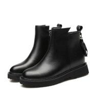 秋冬女短靴厚底加棉女靴平底平跟皮靴流苏百搭加绒女鞋马丁靴 加棉黑色