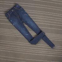 原单秋冬加绒加厚高腰刺绣花小脚牛仔裤大码胖女铅笔裤显瘦 深蓝色