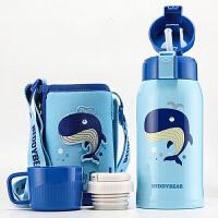 杯具熊 316不锈钢儿童喝水杯子(吸管盖+内盖外盖式)保温学生水杯 鲸鱼蓝色水壶