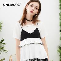 ONE MORE2018夏装新款小吊带两件套上衣女mm雪纺短袖女夏洋气小衫