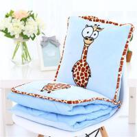 汽�抱枕被子�捎谜郫B午睡枕�^卡通斑�R靠�|�k公室靠枕床�^靠背�| �B�w空�{被(1*1.5米)