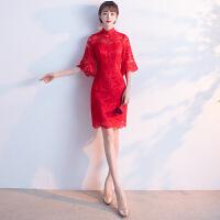 敬酒服新娘旗袍2018新款秋季红色短款女中国风中式结婚小礼服长款