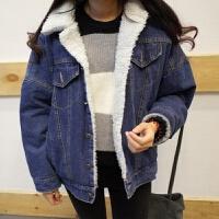 冬季加绒加厚牛仔外套女韩版羊羔毛宽松韩版学生bf风2018秋冬新款 蓝色 加绒加厚外套