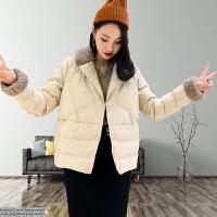 棉衣女2018秋冬新款时尚领短款菱形格显瘦羽绒女外套潮