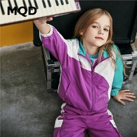 MQD童装女童套装2020春季新款儿童运动休闲外套工装风条纹撞色潮