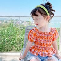 【2件2折价:43.2】纽豆儿童泡泡袖格子衬衣2020新款女童时尚上衣洋气时髦宝宝短袖衬衫夏