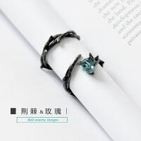 原创荆棘情侣对戒银戒指一对日韩男女潮人个性开口尾戒礼物