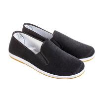 老北京布鞋男士平底休闲懒人一脚蹬黑布鞋干活工作透气中年爸爸鞋