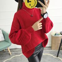 新款韩版宽松针织衫套头毛衣外套日系学院风泡泡袖纯色毛衣打底衫