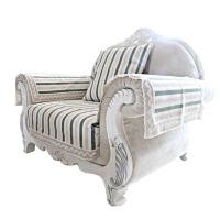 棉麻沙发垫布艺沙发巾防滑坐垫沙发套罩布料现代蓝色条纹薄款定制 12
