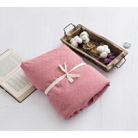 水洗棉纯色双人床笠单件简约床单素色床罩单品定制