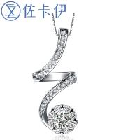 佐卡伊 18k金钻石吊坠女结婚项链项坠时尚个性珠宝首饰 闪耀轨迹