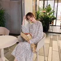 法国小众连衣裙女秋冬季法式复古长裙2018新款加绒裙子甜美小清新 白色 四天后发货 均码 加绒