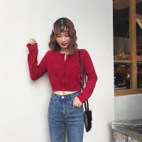 毛衣外套女韩版2018新款 秋冬季修身时尚百搭学生短款针织开衫 深红色