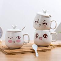 个性表情包陶瓷杯可爱超萌带盖勺创意潮流小号杯子女马克杯