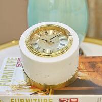 简约现代高档摆件欧式客厅时尚电子钟表金属创意台钟座大理石摆台创意钟式摆件