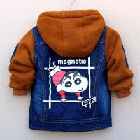 男童牛仔加绒外套中小童棉衣儿童加厚保暖连帽上衣宝宝冬季新款童
