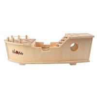 儿童3-6周岁木制玩偶4男女童玩具5拼装7积木海盗船模型8智力