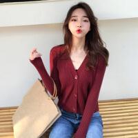 秋冬女装韩版新款宽松慵懒风毛衣纯色chic长袖针织衫开衫上衣外套