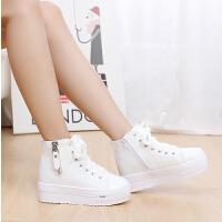 帆布鞋女鞋松糕鞋厚底高帮鞋甜美学生鞋运动鞋球鞋女单鞋