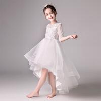 白色花童小主持人晚礼服女童走秀演出服夏季儿童礼服公主婚纱裙