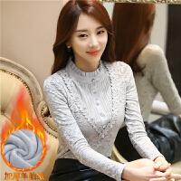 加厚加绒蕾丝打底衫秋冬装高领长袖韩版女百搭保暖修身上衣服8849