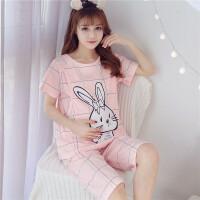 月子服夏季透气夏季大码短袖孕妇喂奶睡衣产后哺乳格子兔可爱外穿家居月子服套装ZT-08 321方格兔