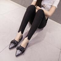 孕妇裤2018新款韩版小脚开叉仿牛仔铅笔裤外穿显瘦托腹孕妇打底裤
