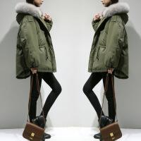 冬季羽绒棉衣女短款学生加厚棉袄韩版新款宽松大毛领外套 军绿色 S