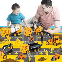 惯性工程车玩具套装儿童挖掘推土勾机小汽车翻斗水泥油罐叉车