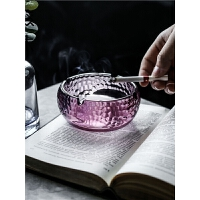 烟灰缸圆形方形锤纹玻璃办公家用客厅日式装饰烟缸
