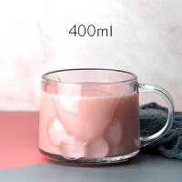 猫爪杯 创意可爱磨砂杯玻璃杯女牛奶杯耐热早餐杯燕麦片杯 大容量