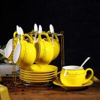 【新品热卖】欧式咖啡杯套装 家用简约陶瓷杯英式下午茶杯茶具欧式茶具6杯碟