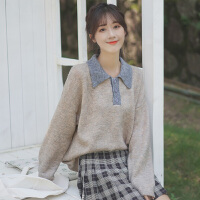 20新款秋冬宽松拼色POLO领毛衣女套头百搭打底衫学生针织衫