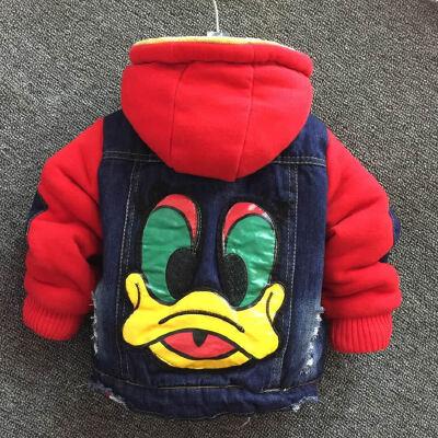 男童加绒牛仔外套冬装新款儿童韩版夹克男宝宝加厚保暖上衣棉衣潮