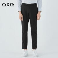 【新款】GXG男�b 2021春季黑色�n版休�e直筒羊毛西�男181114102