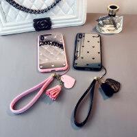 镜面爱心款iphone6s plus手机壳苹果8p支架套7情侣XR挂绳女Xs max保护套11pro日韩个性时尚潮六七八