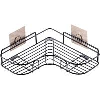 吸壁式旋转三角置物架 免打孔转角置物架卫生间洗漱架 浴室无痕壁挂三角架收纳架B