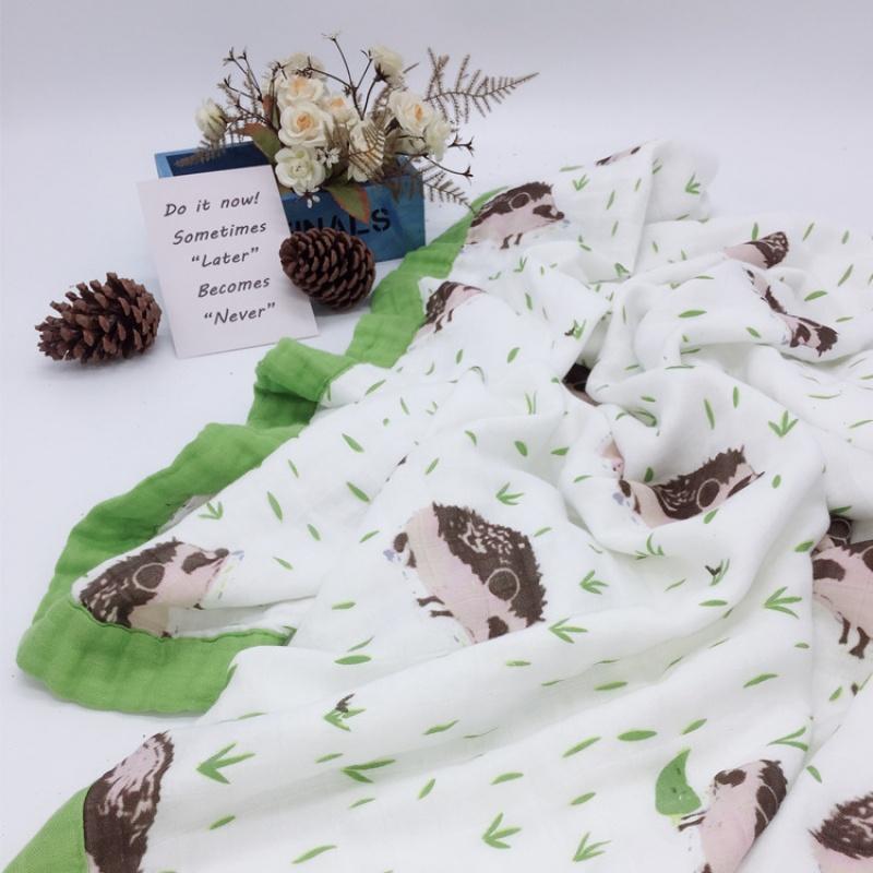 婴儿抱被秋冬婴儿夏季盖毯六层竹纤维纱布四季浴巾包巾新生儿秋抱被儿童空调被wk-74