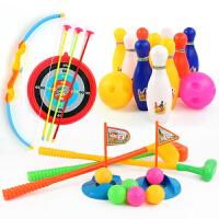 儿童运动健身玩具弓箭保龄球高尔夫球杆套装幼儿园宝宝益智玩具骊鸿 标准弓+16cm保龄球+小号高尔夫 送标靶