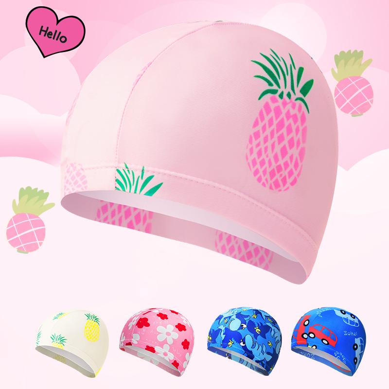 儿童泳帽男女童儿童游泳帽宝宝泳帽可爱长发护发布泳帽泡温泉帽
