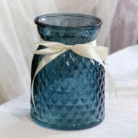 玻璃花瓶 欧式彩色雕花水培绿萝富贵竹玫瑰百合磨砂插花瓶 客厅台面干花装饰摆件