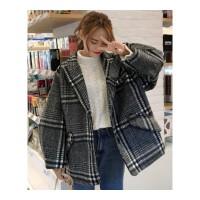 流行呢子大衣女秋冬装新款韩版中长款宽松翻领格子毛呢外套潮 均码